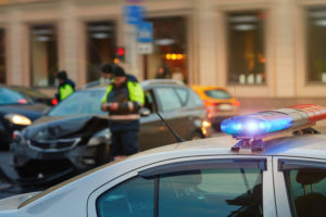 a police officer in a car accident