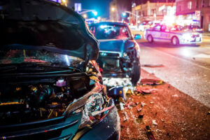 Car accident on the road at night